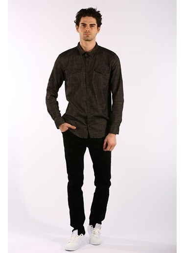 Rodrigo Erkek Siyah Çift Cep Kapaklı Jean Gömlek Siyah